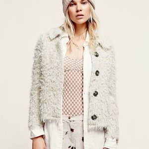 Free People M Sweet Disposition Shaggy Jacket